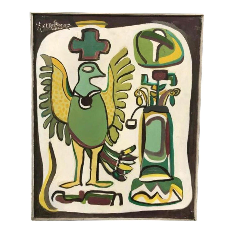 Mid Century Folk Art Abstract Painting - Bird - image-0