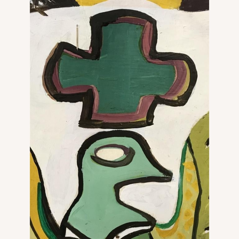 Mid Century Folk Art Abstract Painting - Bird - image-1