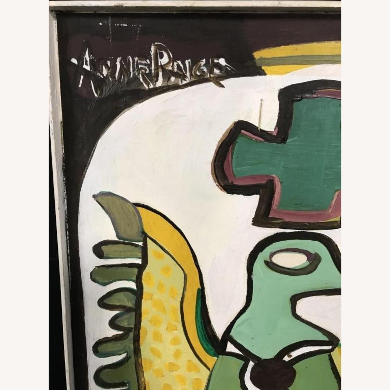 Mid Century Folk Art Abstract Painting - Bird - image-3