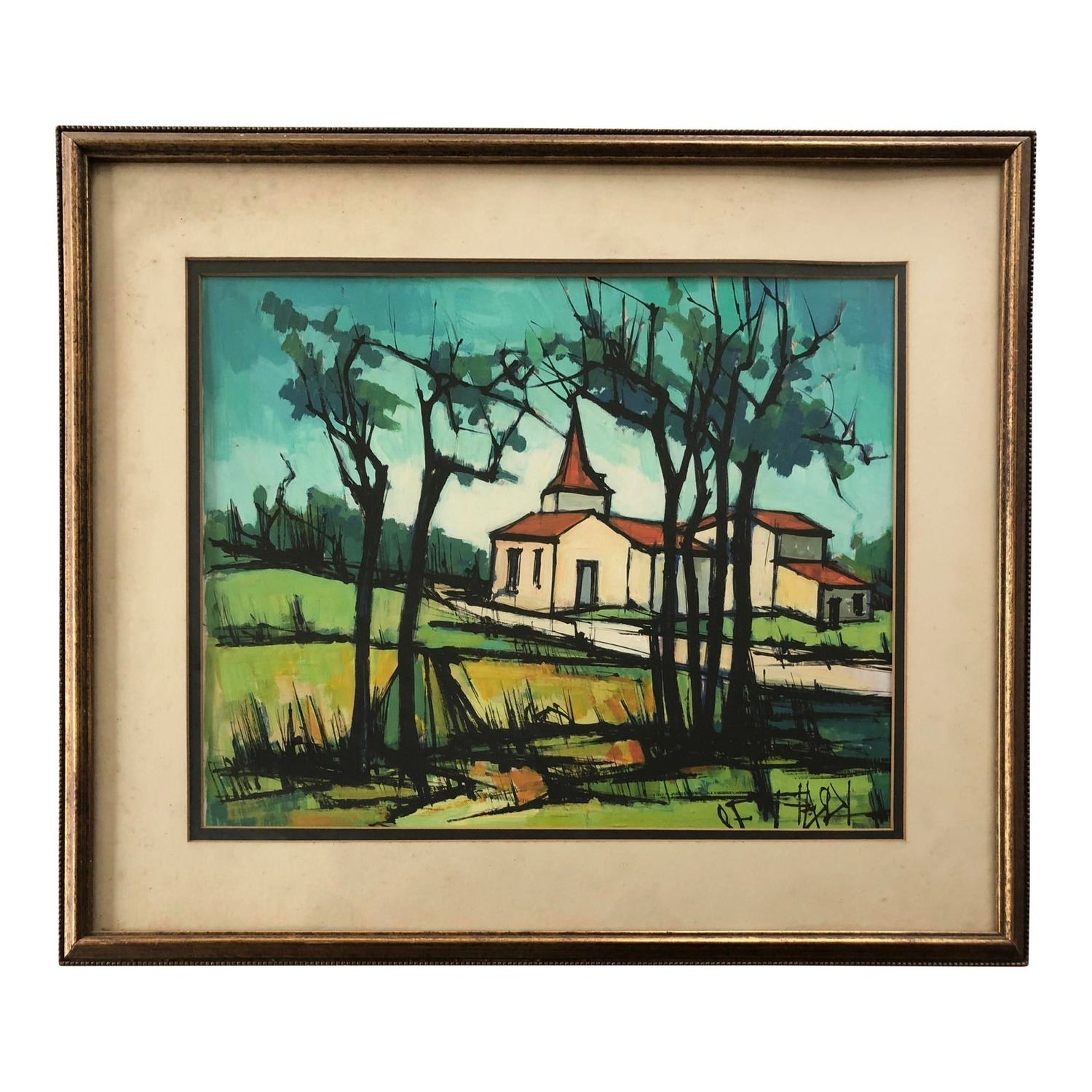Vintage Watercolor Painting - Pastoral Church - image-0