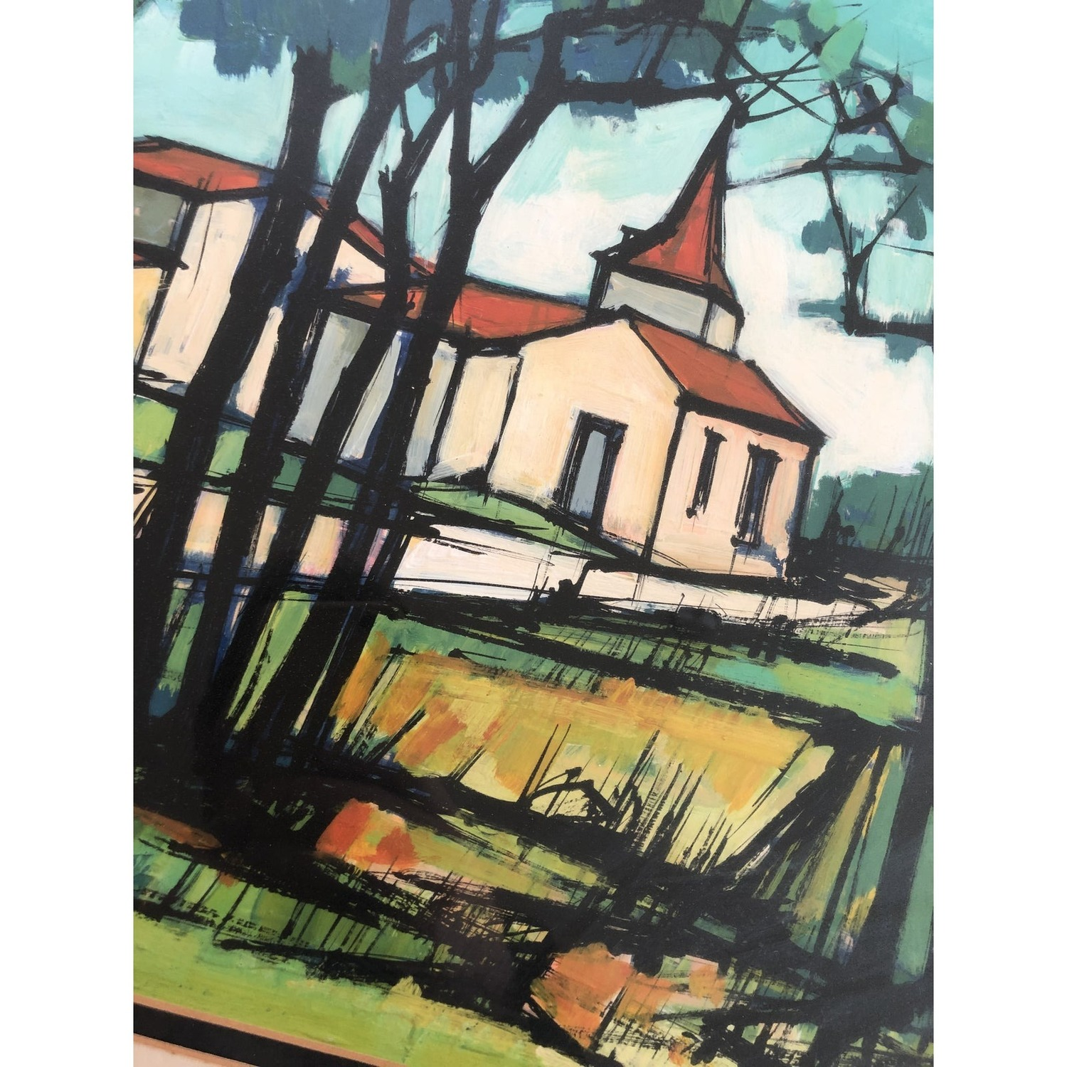Vintage Watercolor Painting - Pastoral Church - image-3