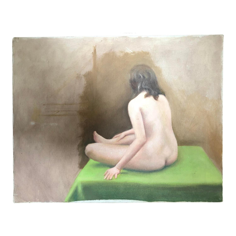 Vintage Nude Painting Woman Seated - image-0