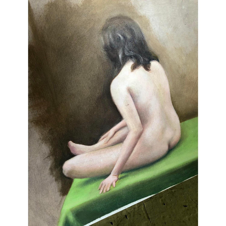 Vintage Nude Painting Woman Seated - image-2