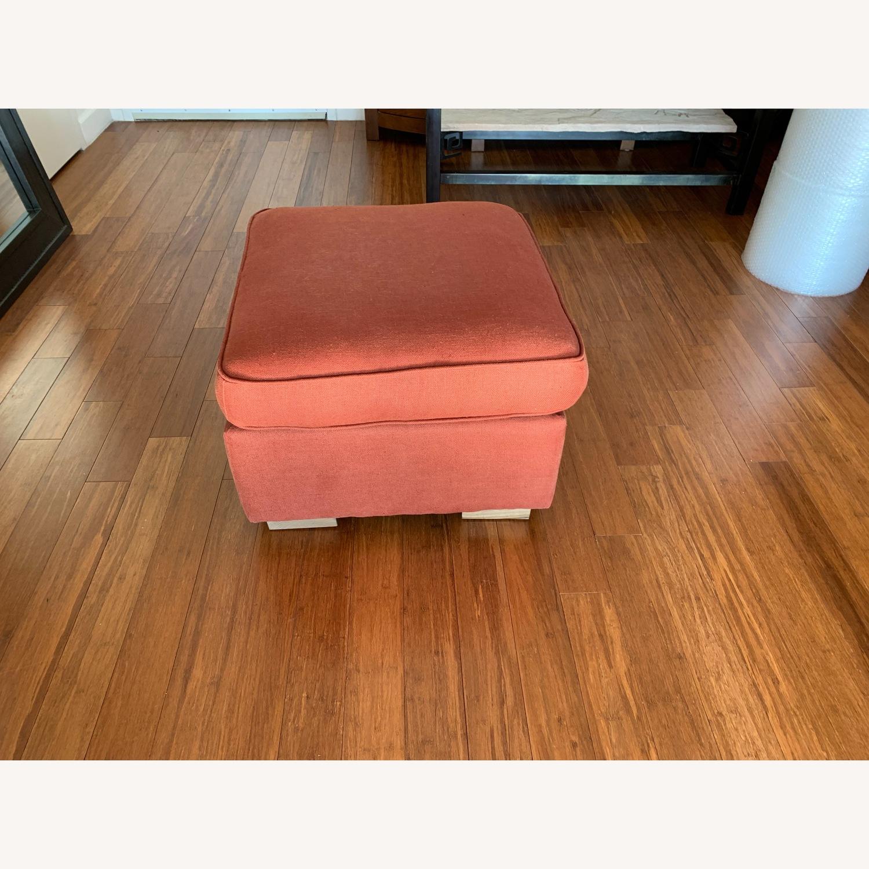 Restoration hardware custom linen ottoman - image-1