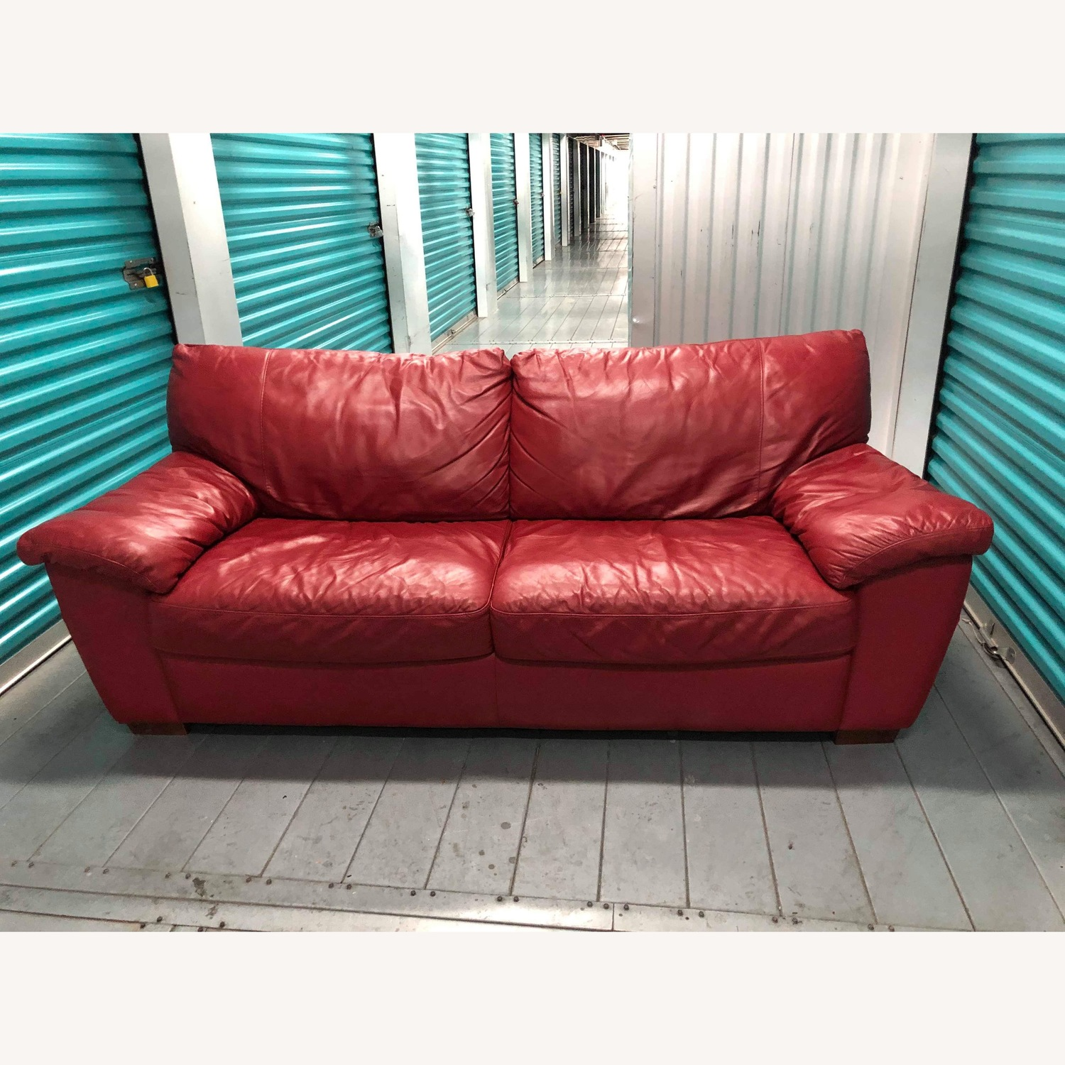 - Ikea Vreta Red Leather Sofa - AptDeco