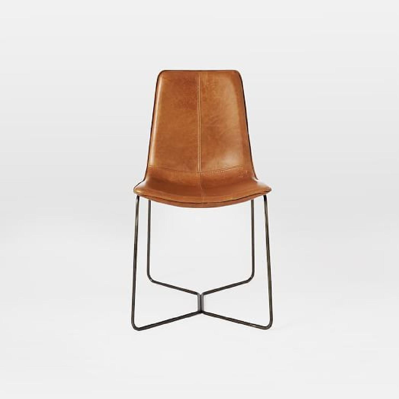 West Elm Slope Saddle Leather Dining Chairs Aptdeco