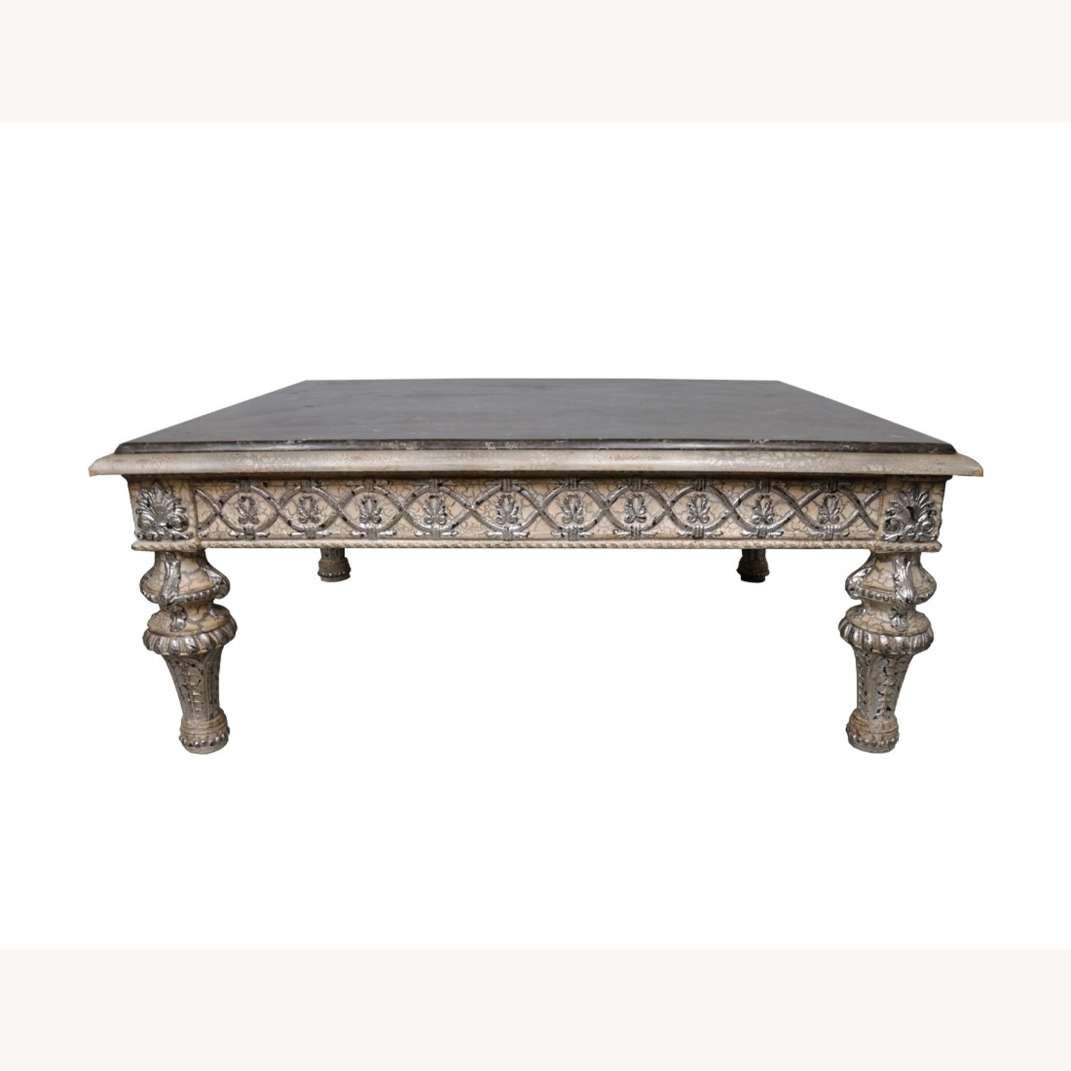 Vintage Silver Crackle Acanthus Coffee Table With Marble Top - image-2