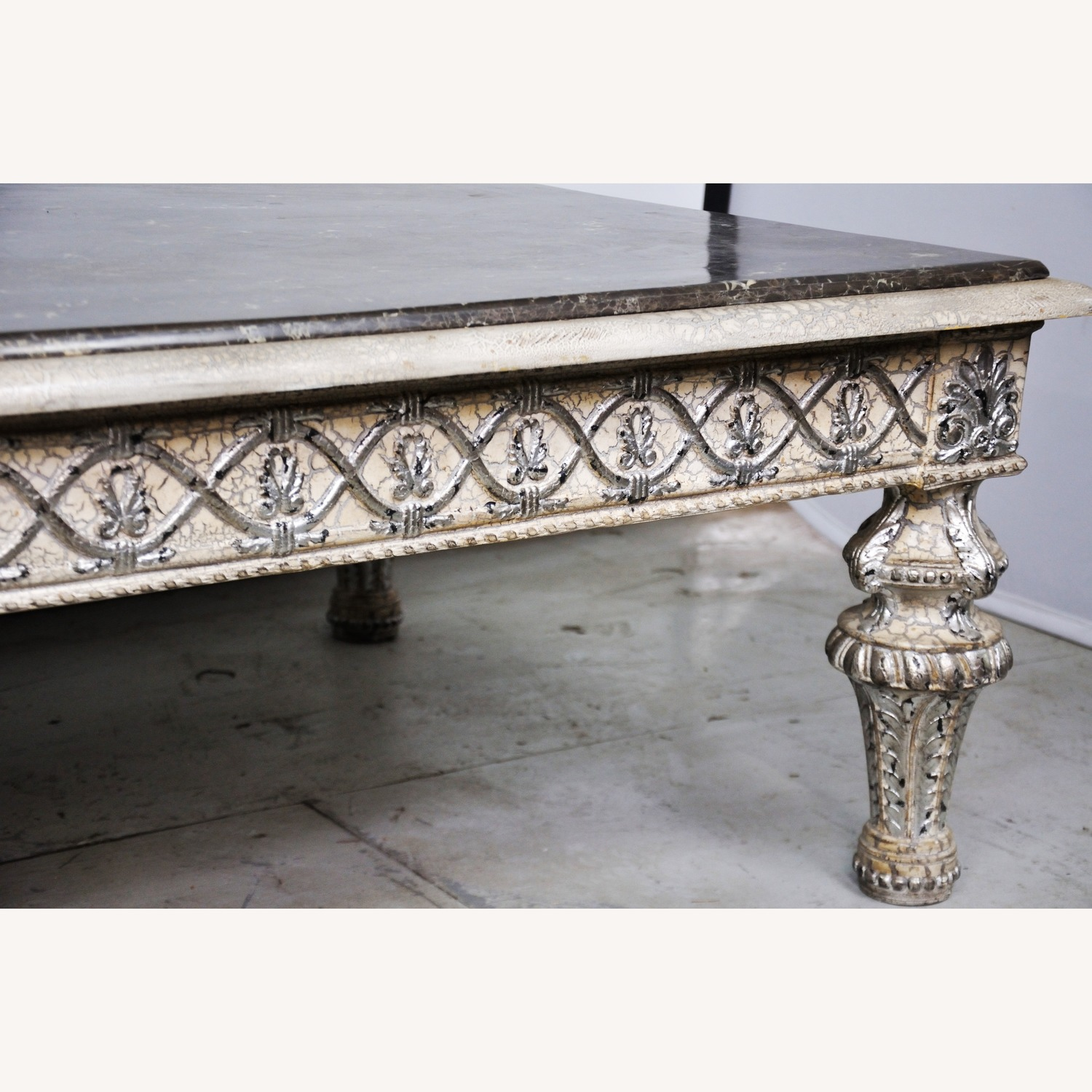 Vintage Silver Crackle Acanthus Coffee Table With Marble Top - image-3