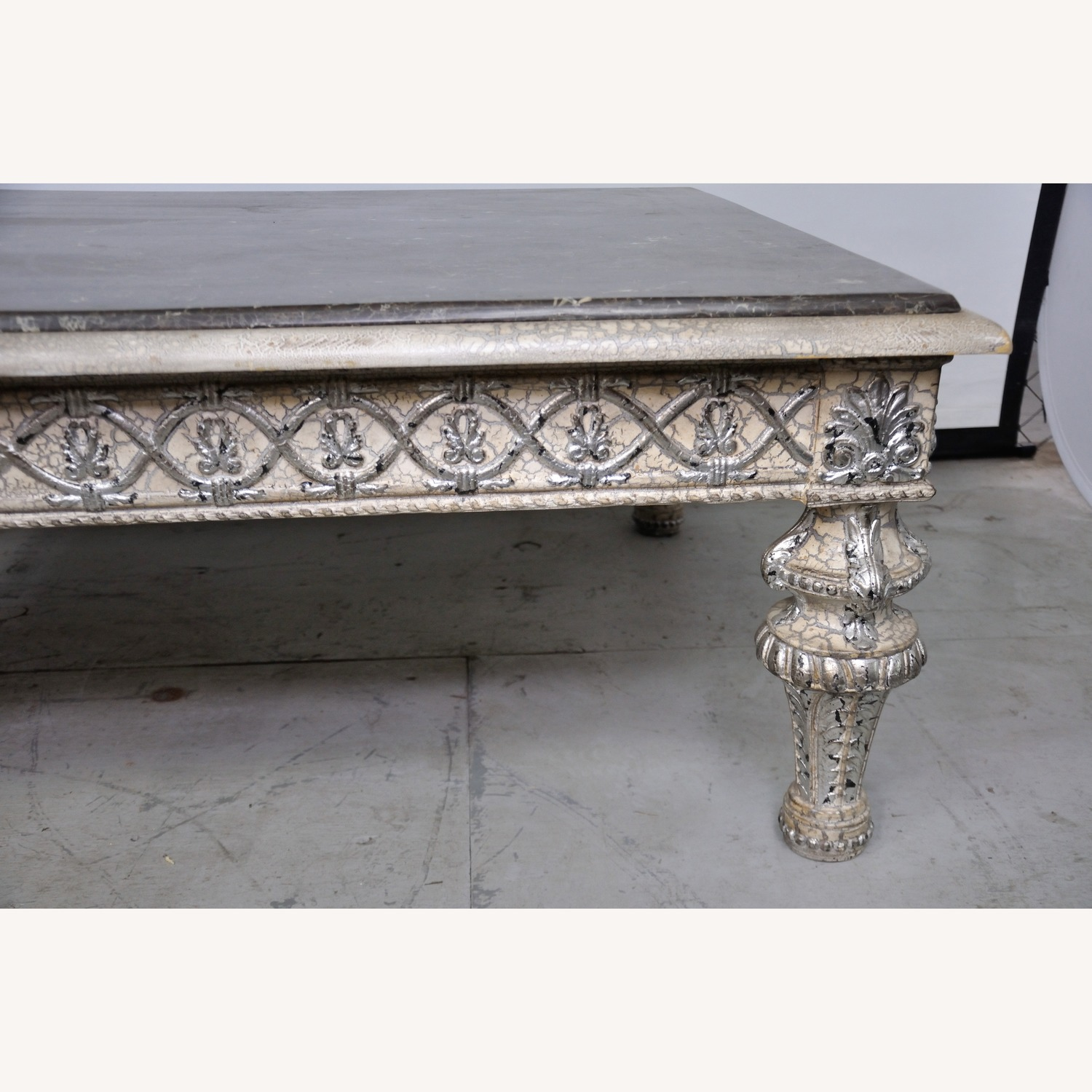 Vintage Silver Crackle Acanthus Coffee Table With Marble Top - image-6