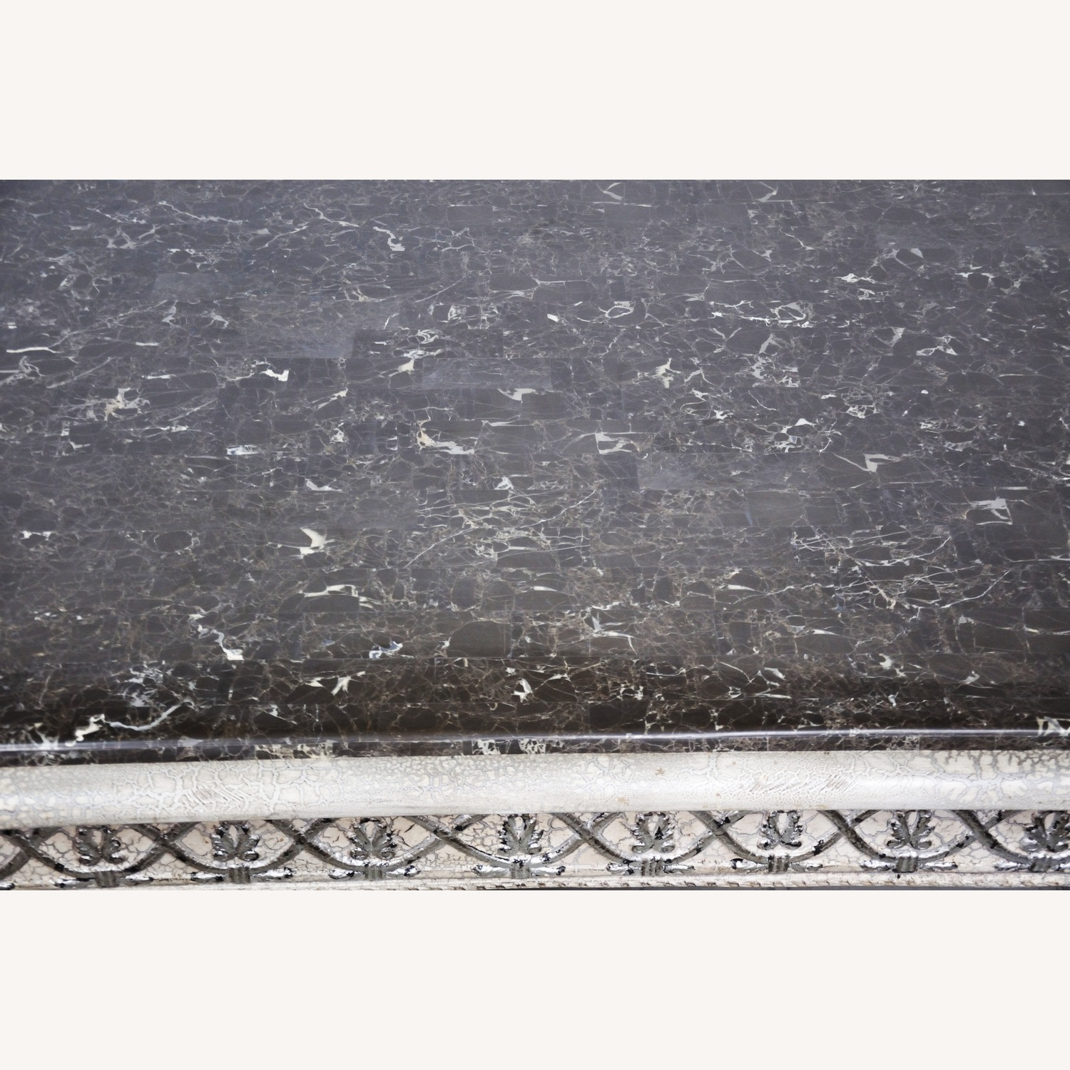Vintage Silver Crackle Acanthus Coffee Table With Marble Top - image-4