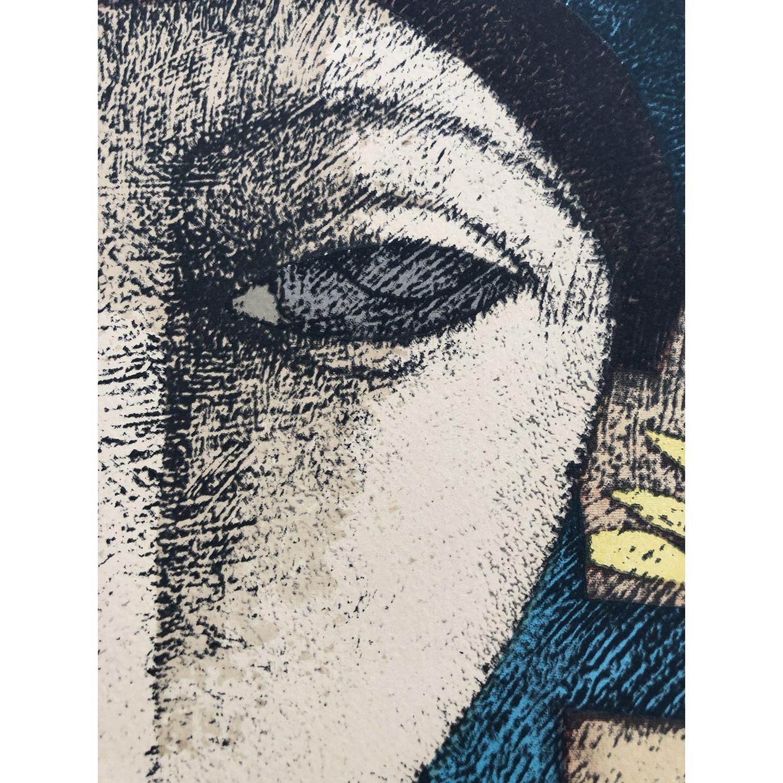Mid Century Modernist Portrait Original Litho Print - image-1