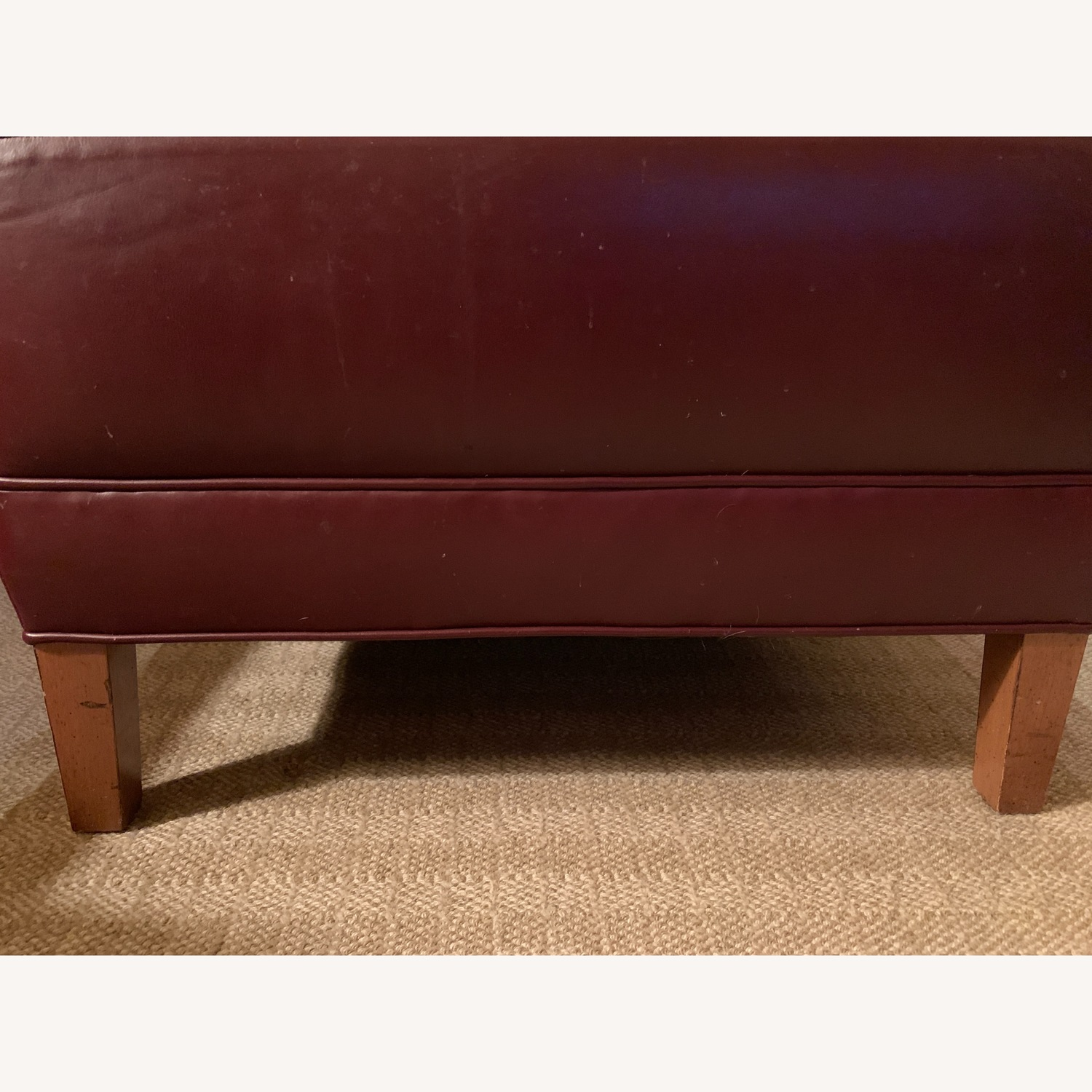 Ethan Allen Burgundy Tufted Leather Ottoman - image-2
