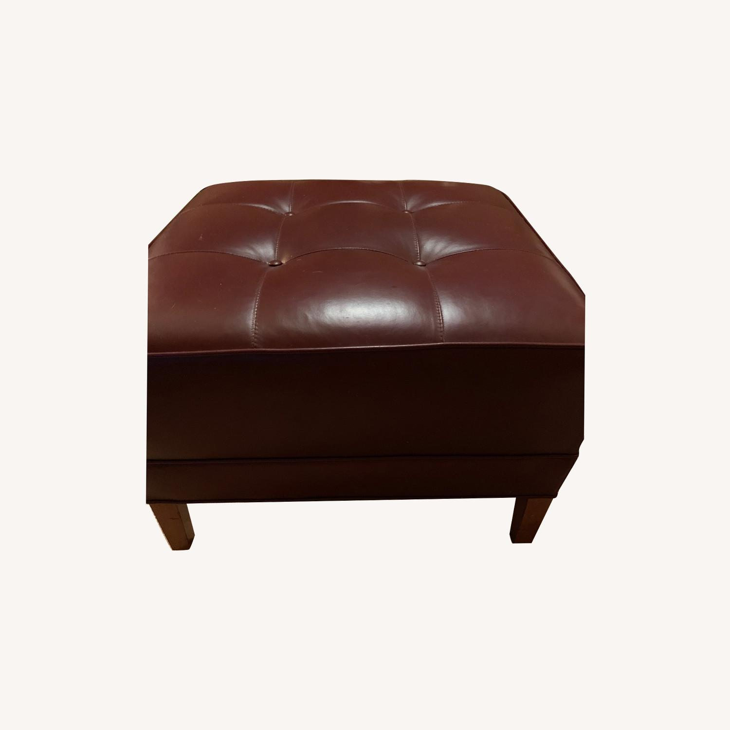 Ethan Allen Burgundy Tufted Leather Ottoman - image-0