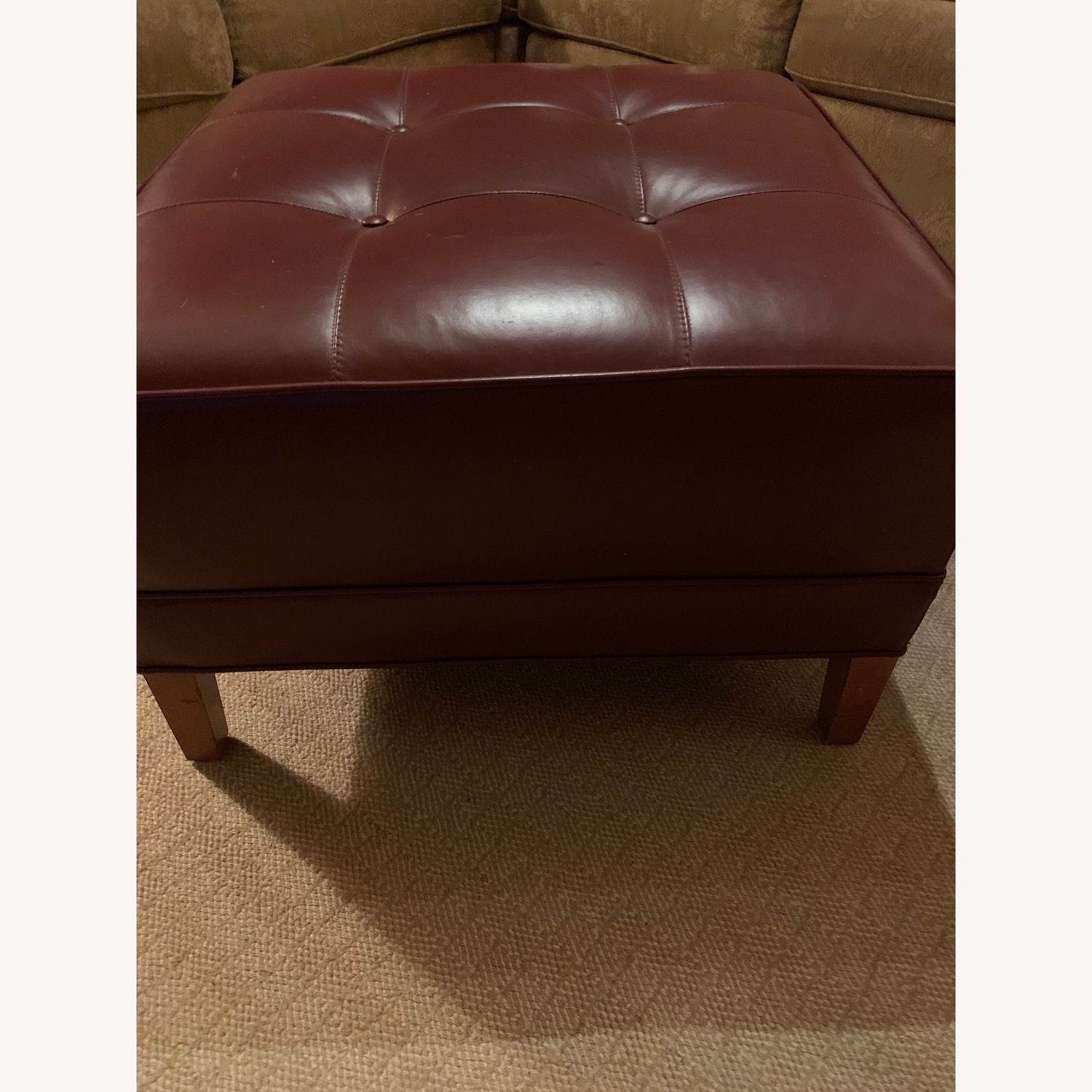 Ethan Allen Burgundy Tufted Leather Ottoman - image-5