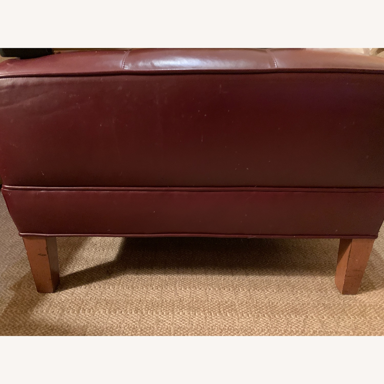 Ethan Allen Burgundy Tufted Leather Ottoman - image-1