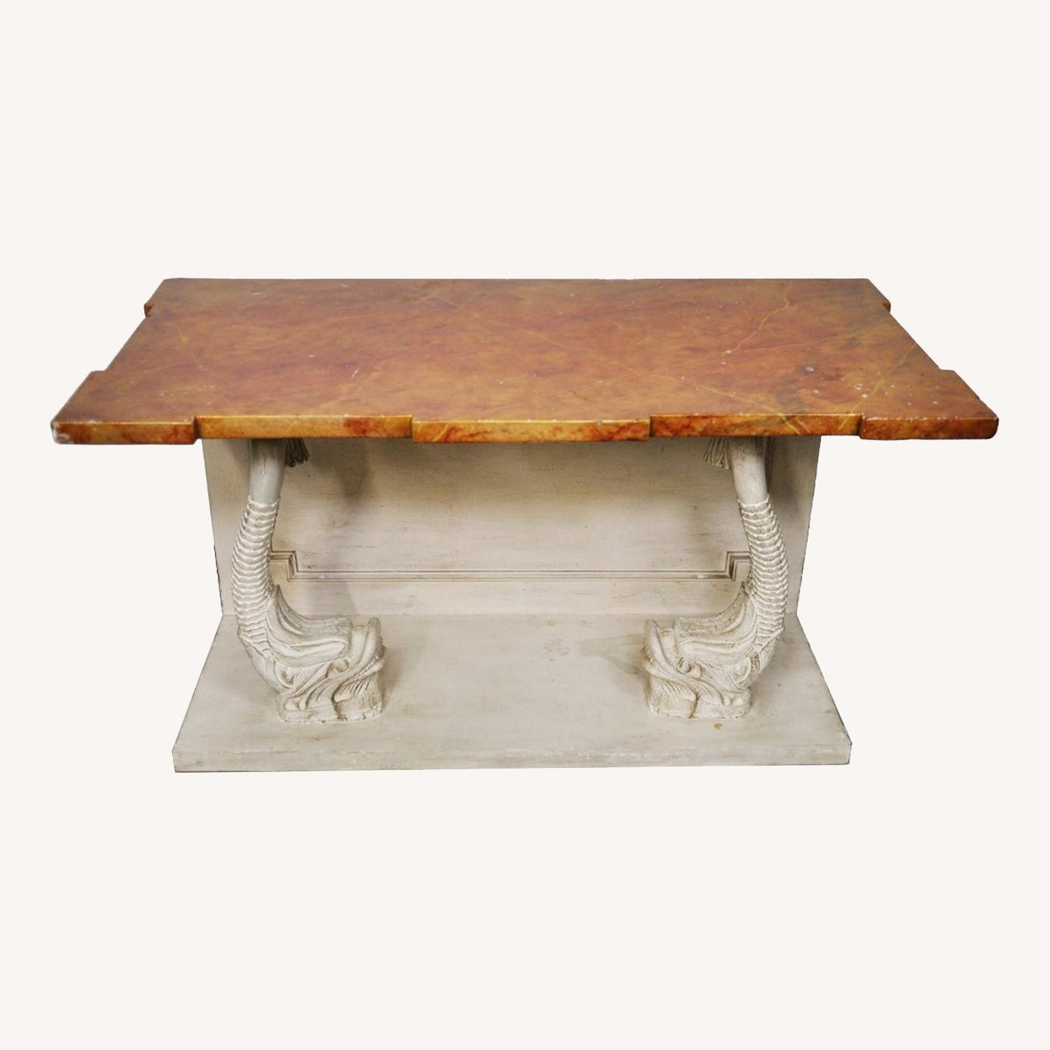 Indian Carved Side Table w/ Marble Top - image-0