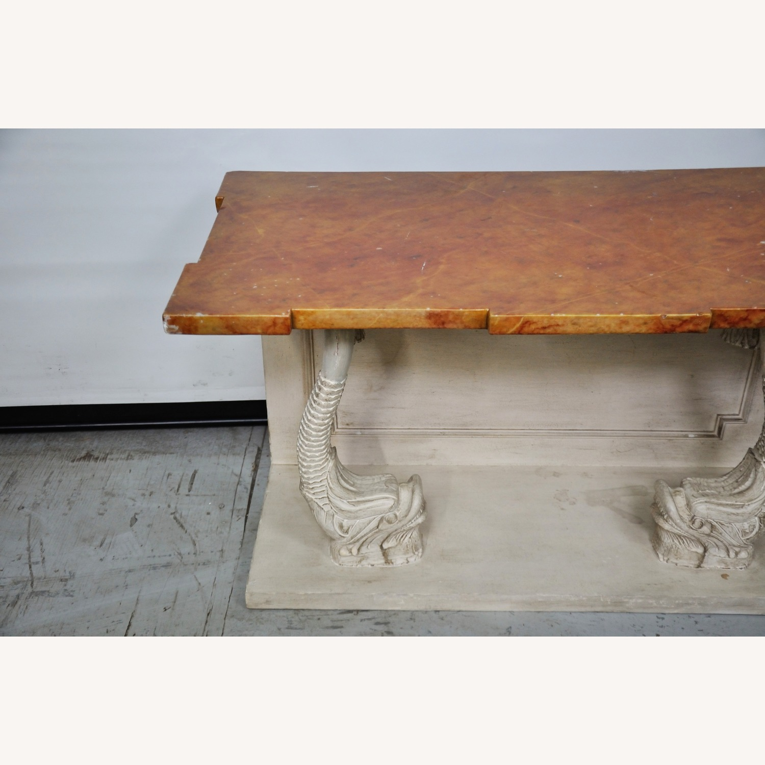 Indian Carved Side Table w/ Marble Top - image-5