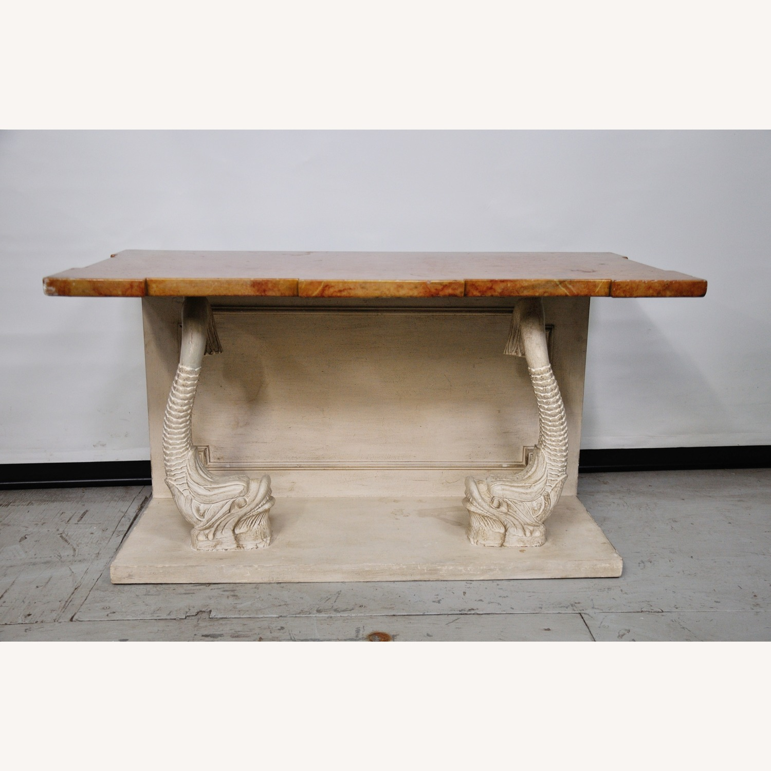 Indian Carved Side Table w/ Marble Top - image-7