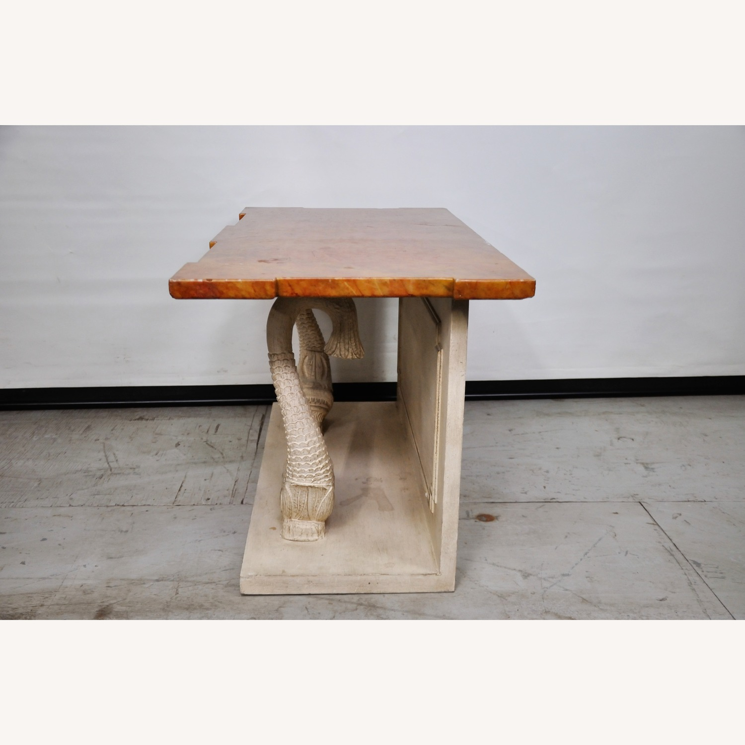 Indian Carved Side Table w/ Marble Top - image-2