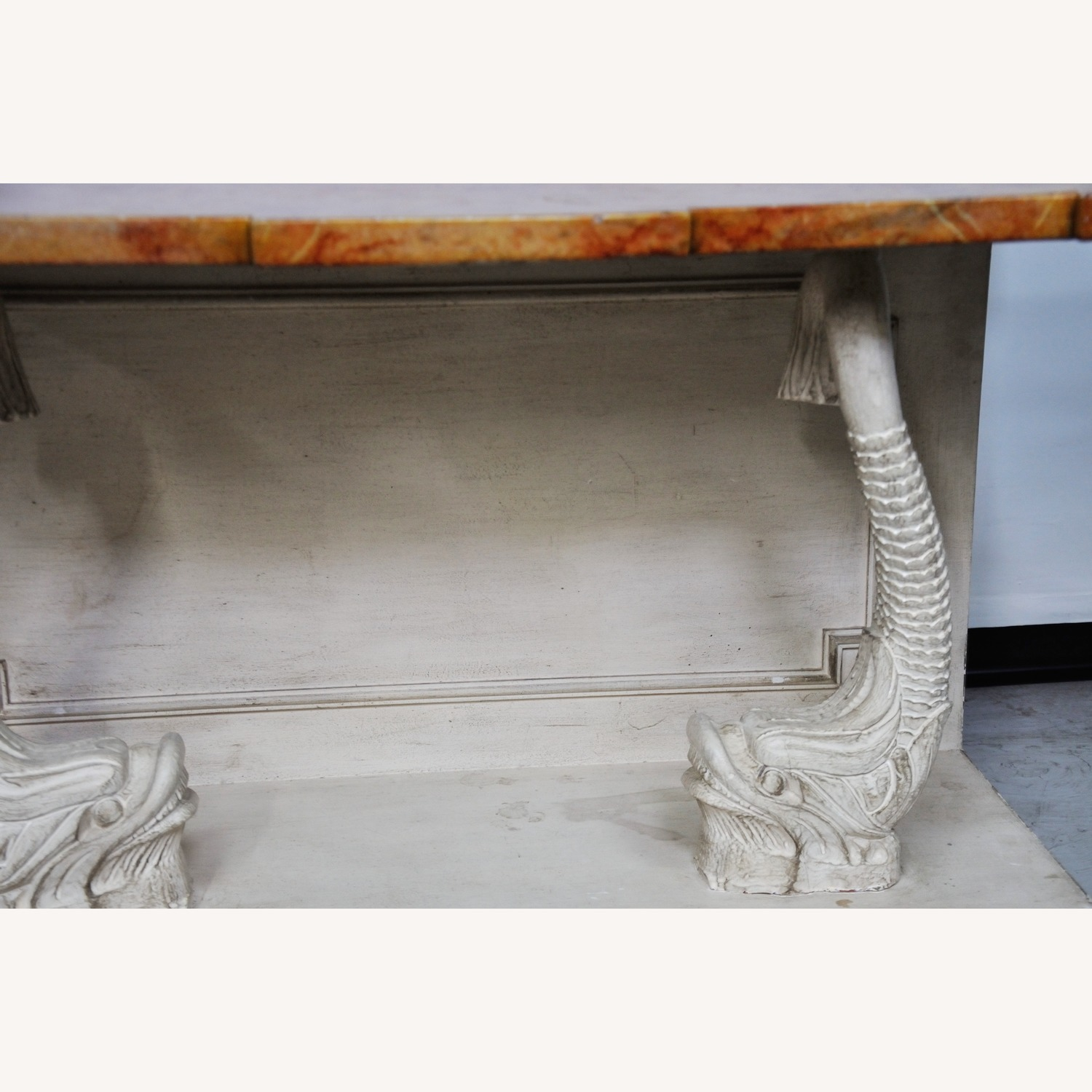 Indian Carved Side Table w/ Marble Top