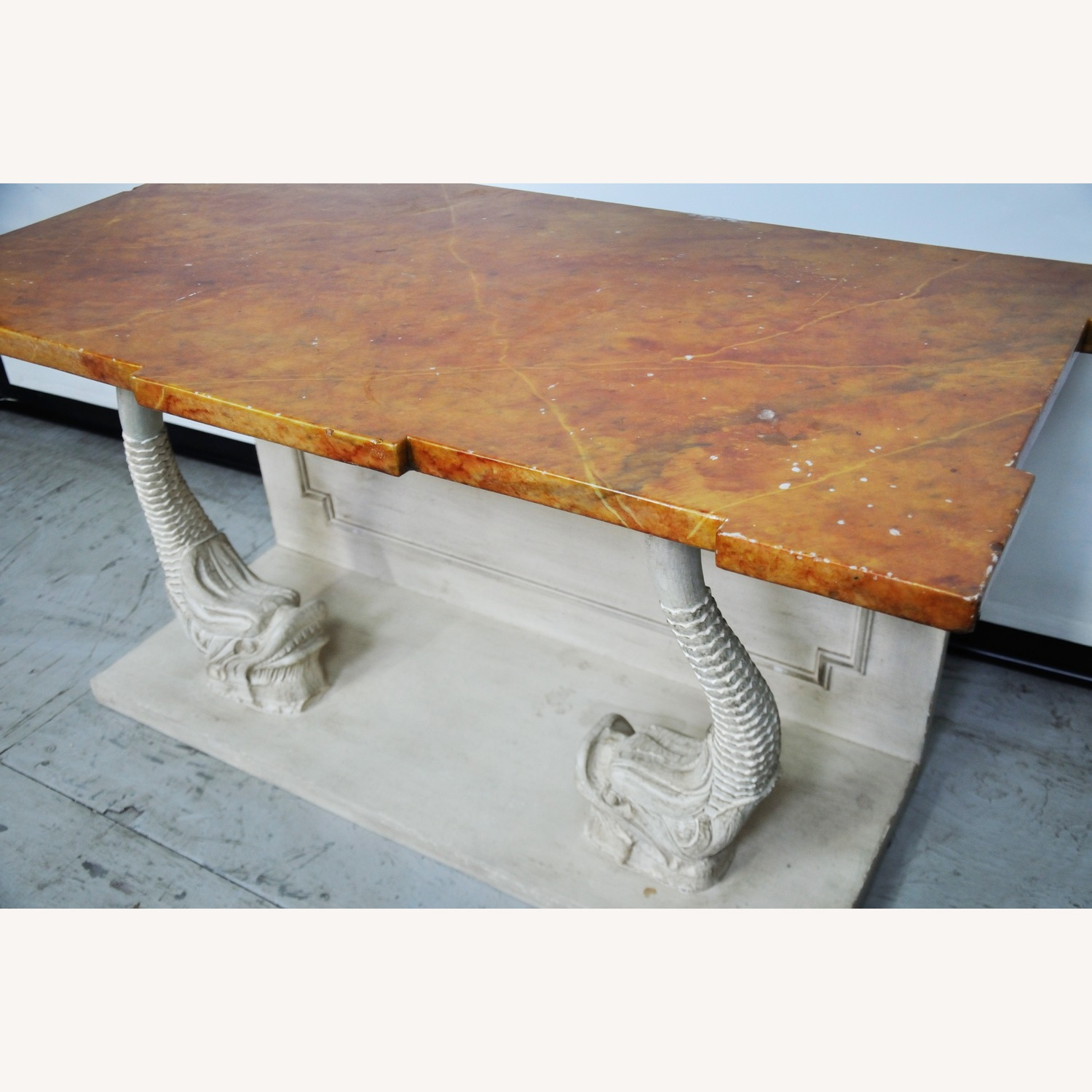 Indian Carved Side Table w/ Marble Top - image-11