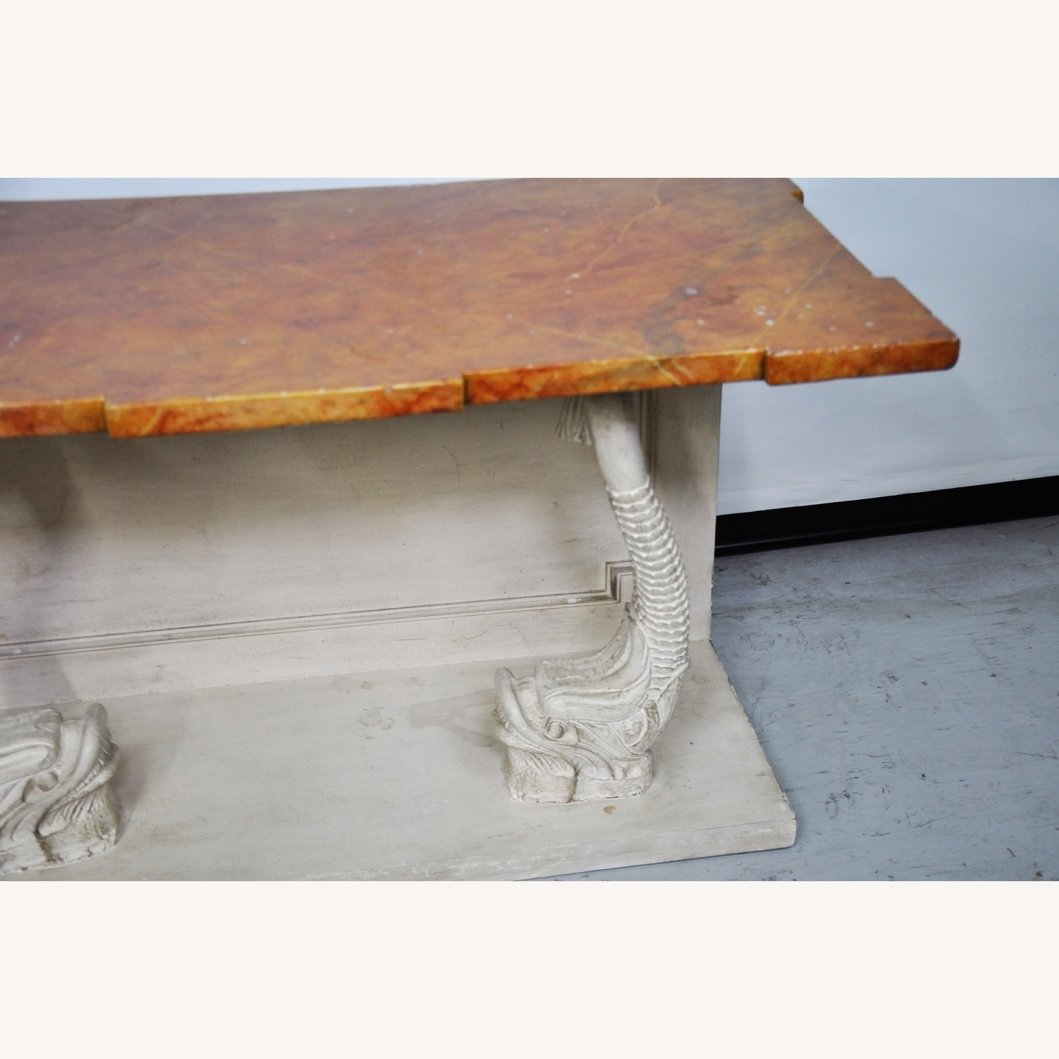 Indian Carved Side Table w/ Marble Top - image-10