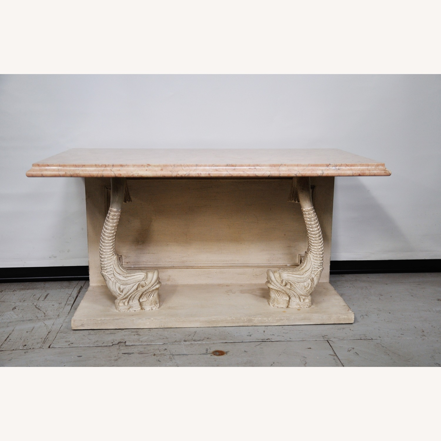 Indian Carved Side Table w/ Marble Top - image-3