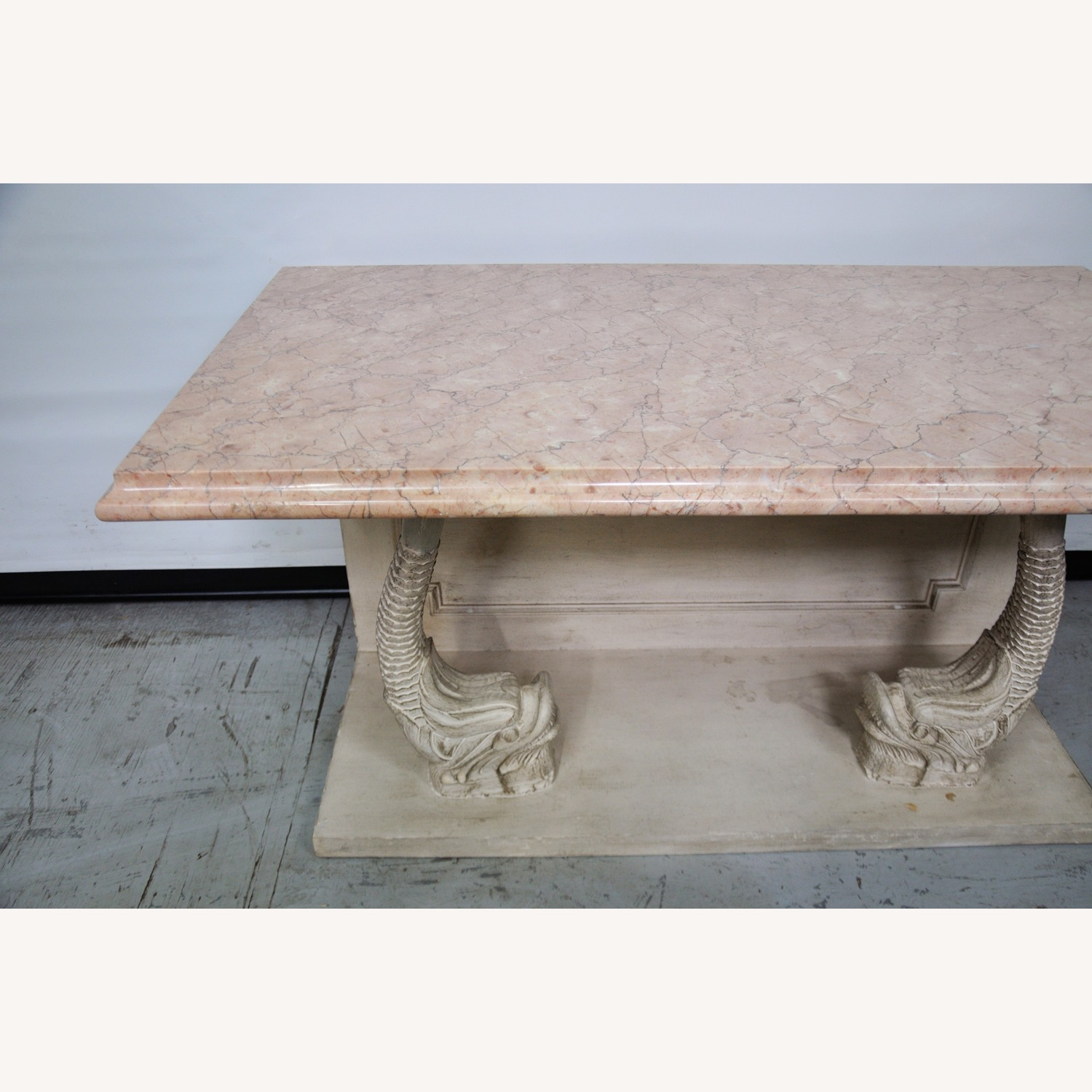 Indian Carved Side Table w/ Marble Top - image-9