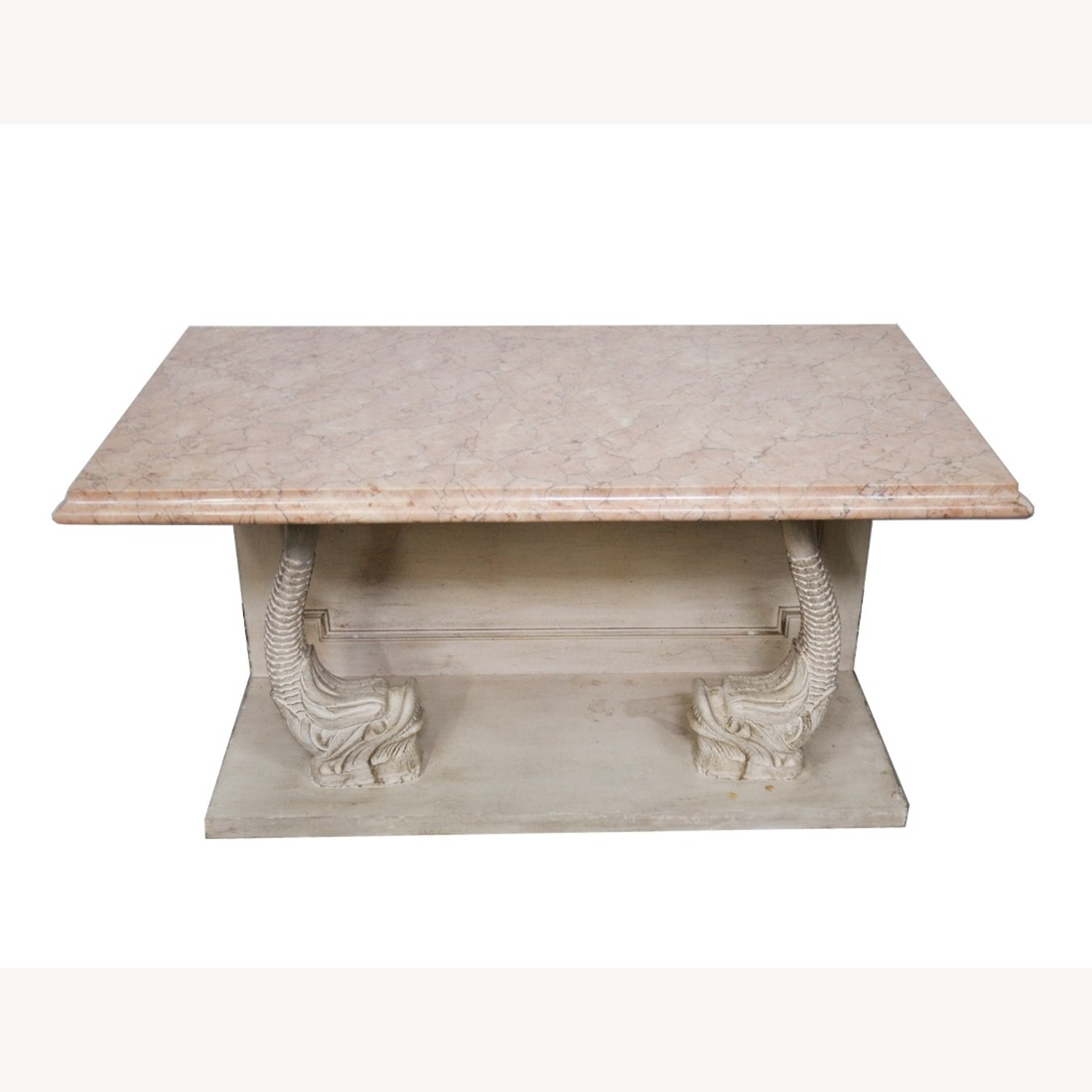 Indian Carved Side Table w/ Marble Top - image-1