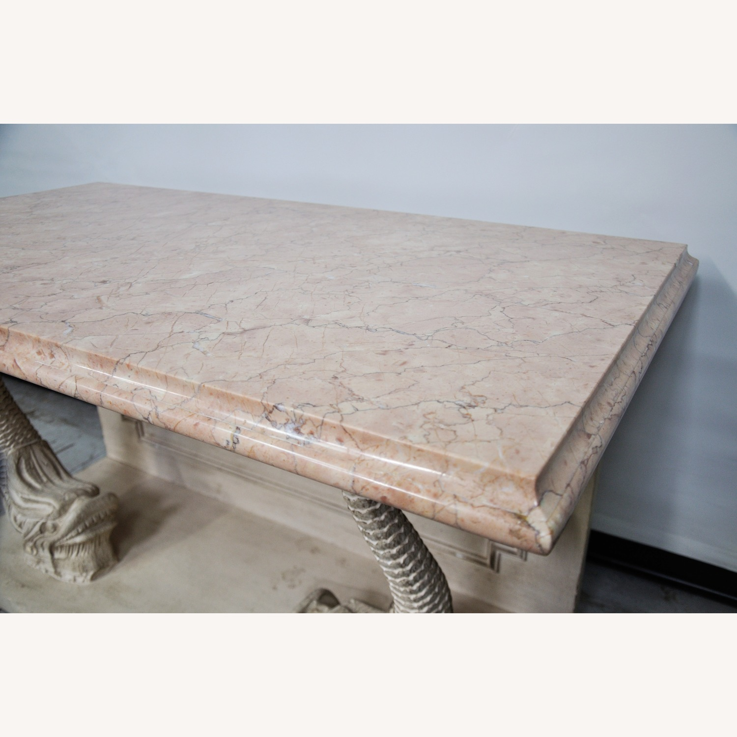 Indian Carved Side Table w/ Marble Top - image-4