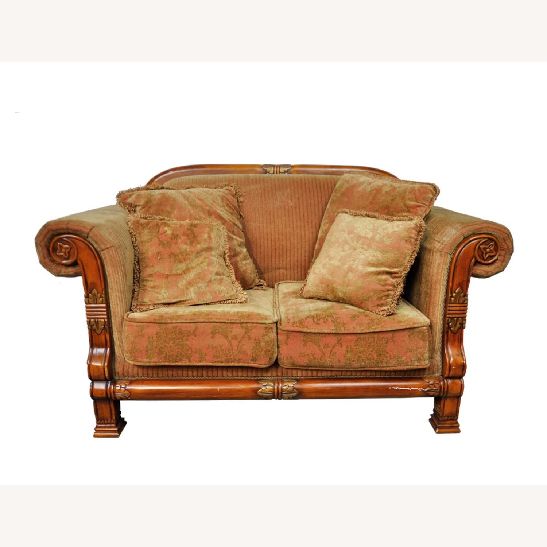 Italian Inspired Corduroy Loveseat Sofa - image-0