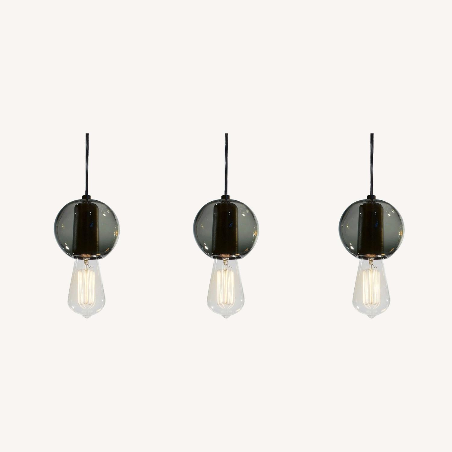 Industrial Hand-blown Gray Glass Pendant Lights Set of 3 - image-0