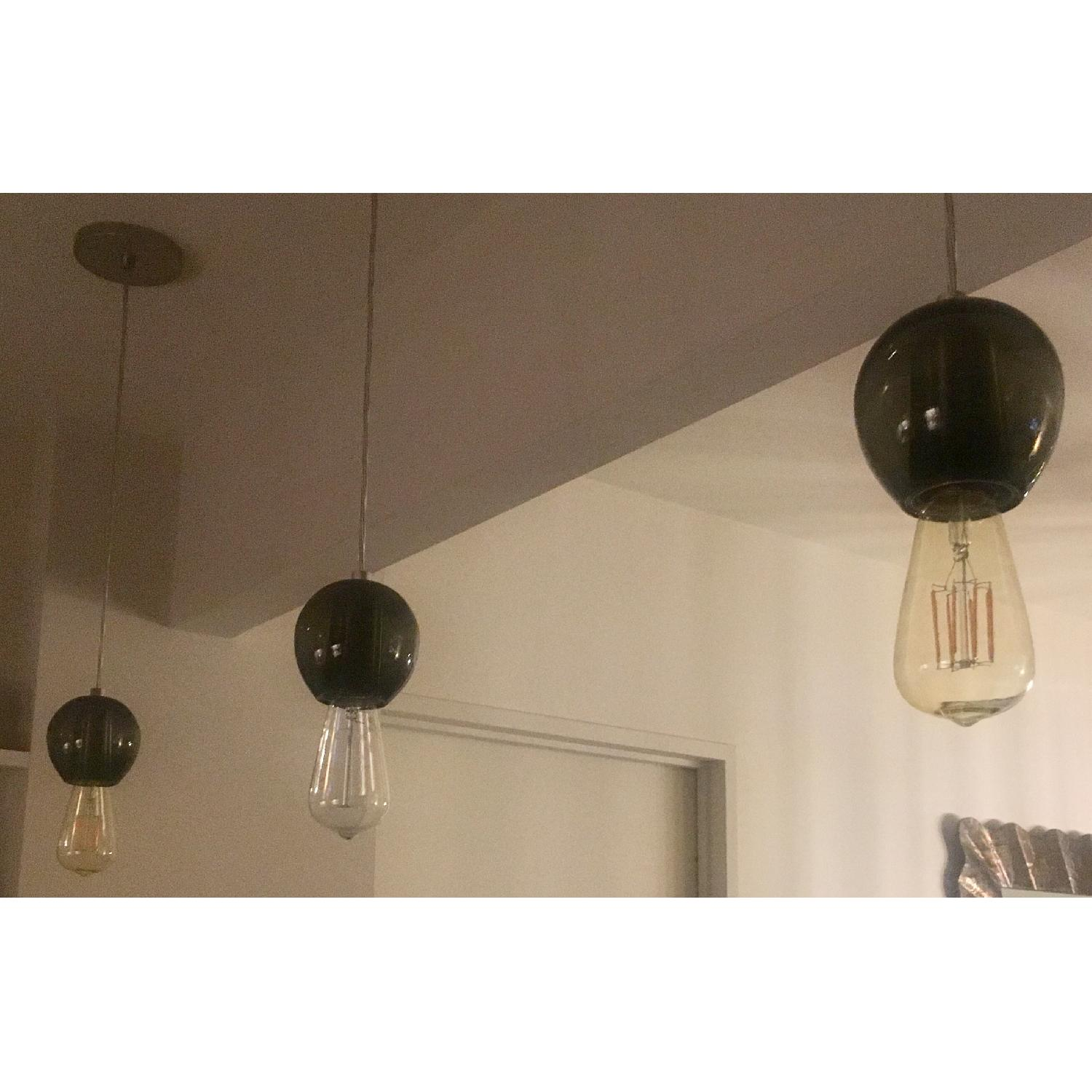 Industrial Hand-blown Gray Glass Pendant Lights Set of 3 - image-9