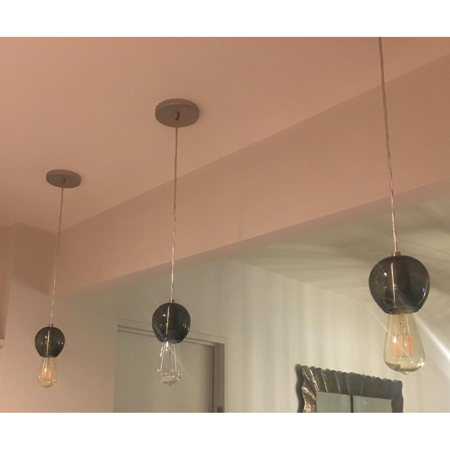 Industrial Hand-blown Gray Glass Pendant Lights Set of 3 - image-10