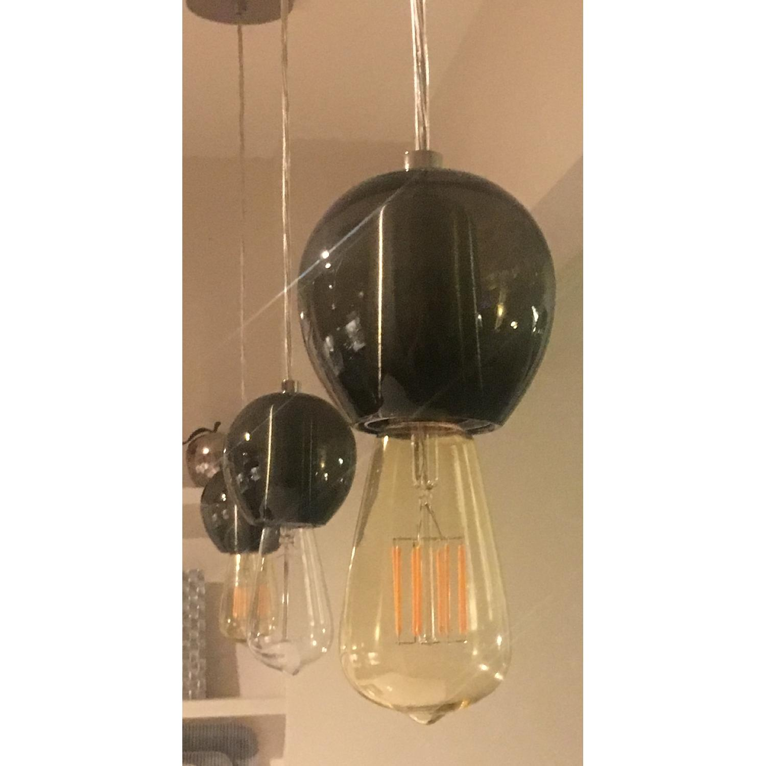 Industrial Hand-blown Gray Glass Pendant Lights Set of 3 - image-11