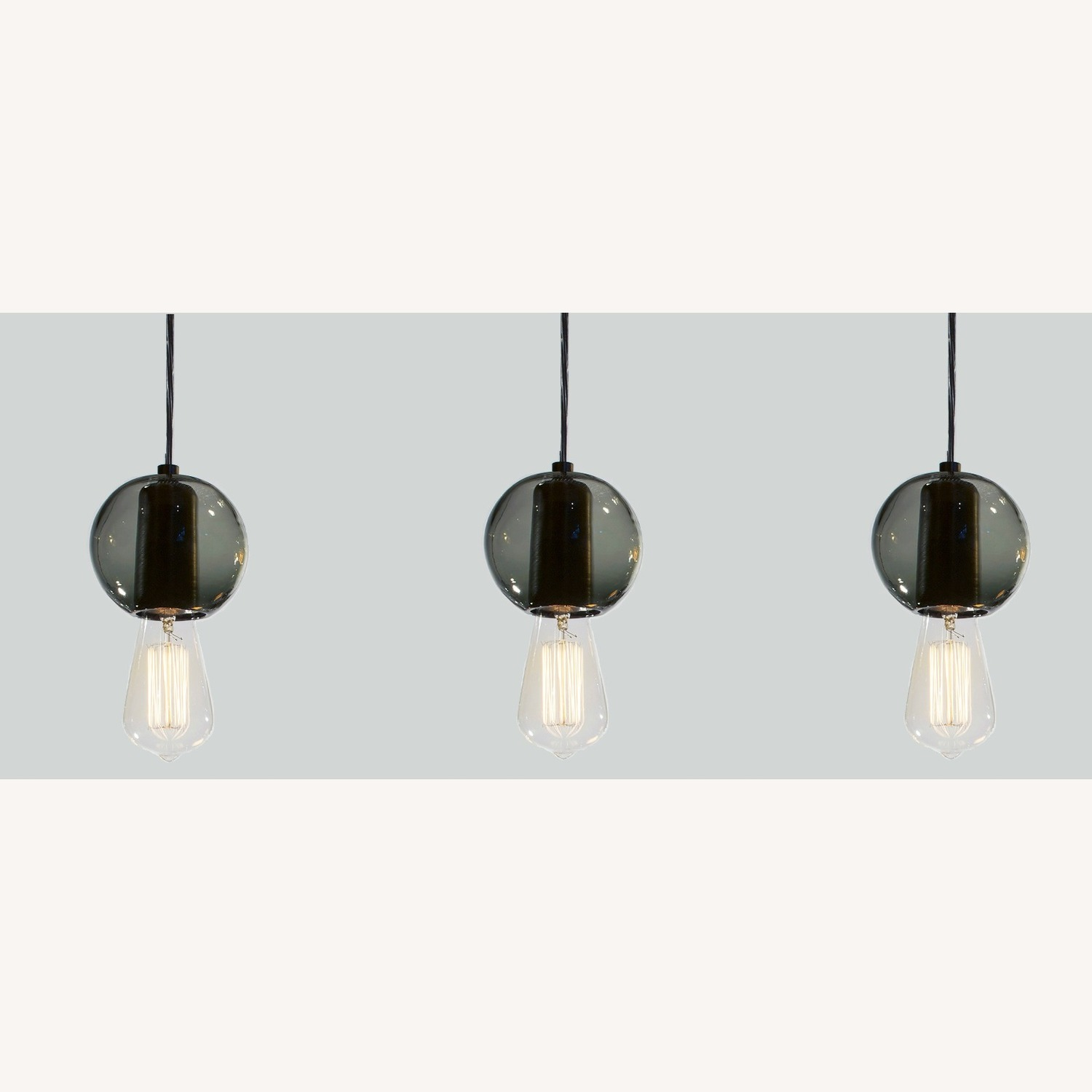 Industrial Hand-blown Gray Glass Pendant Lights Set of 3 - image-1