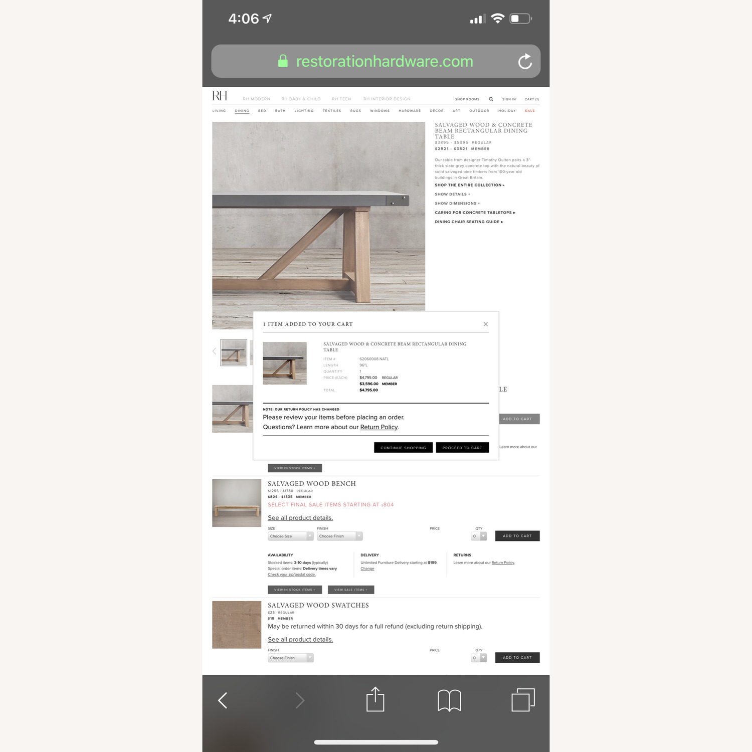 Restoration Hardware Salvaged Wood and Concrete Table - image-5