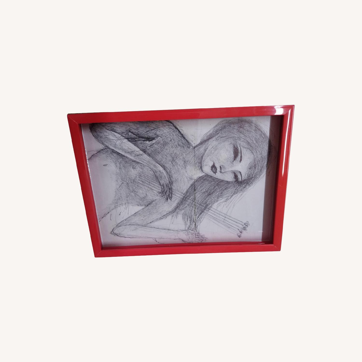 Drawing- Girl playing with bees in hot red frame - image-5