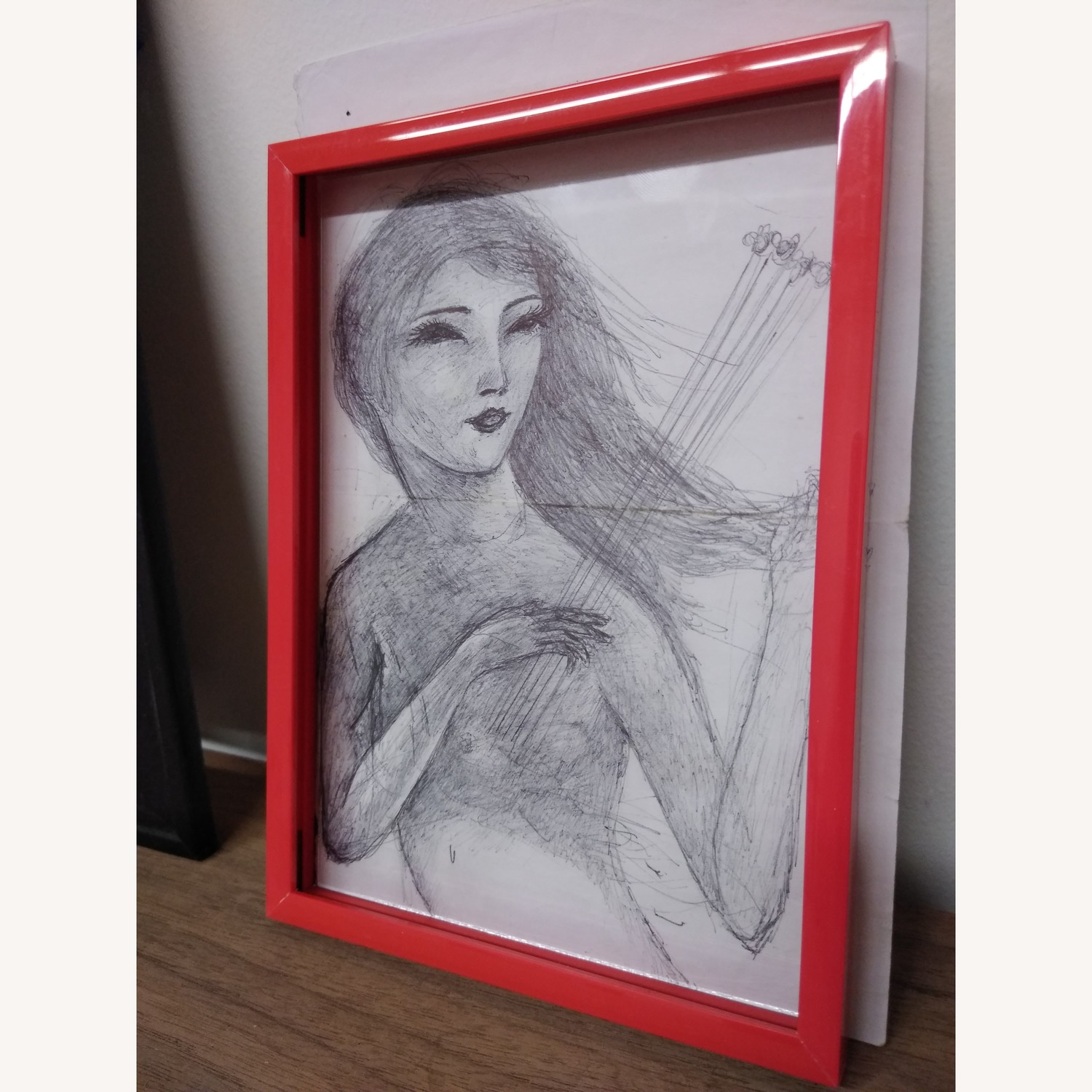 Drawing- Girl playing with bees in hot red frame - image-2