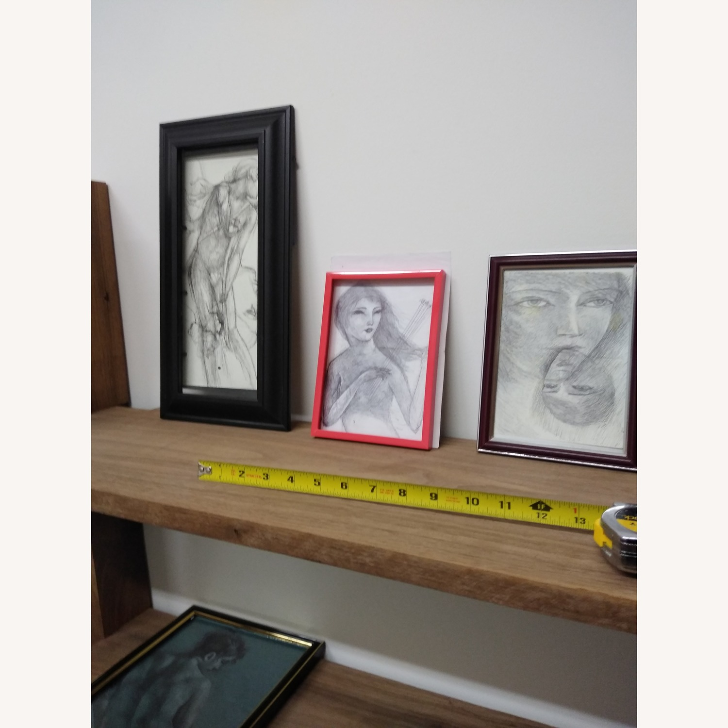 Drawing- Girl playing with bees in hot red frame - image-1