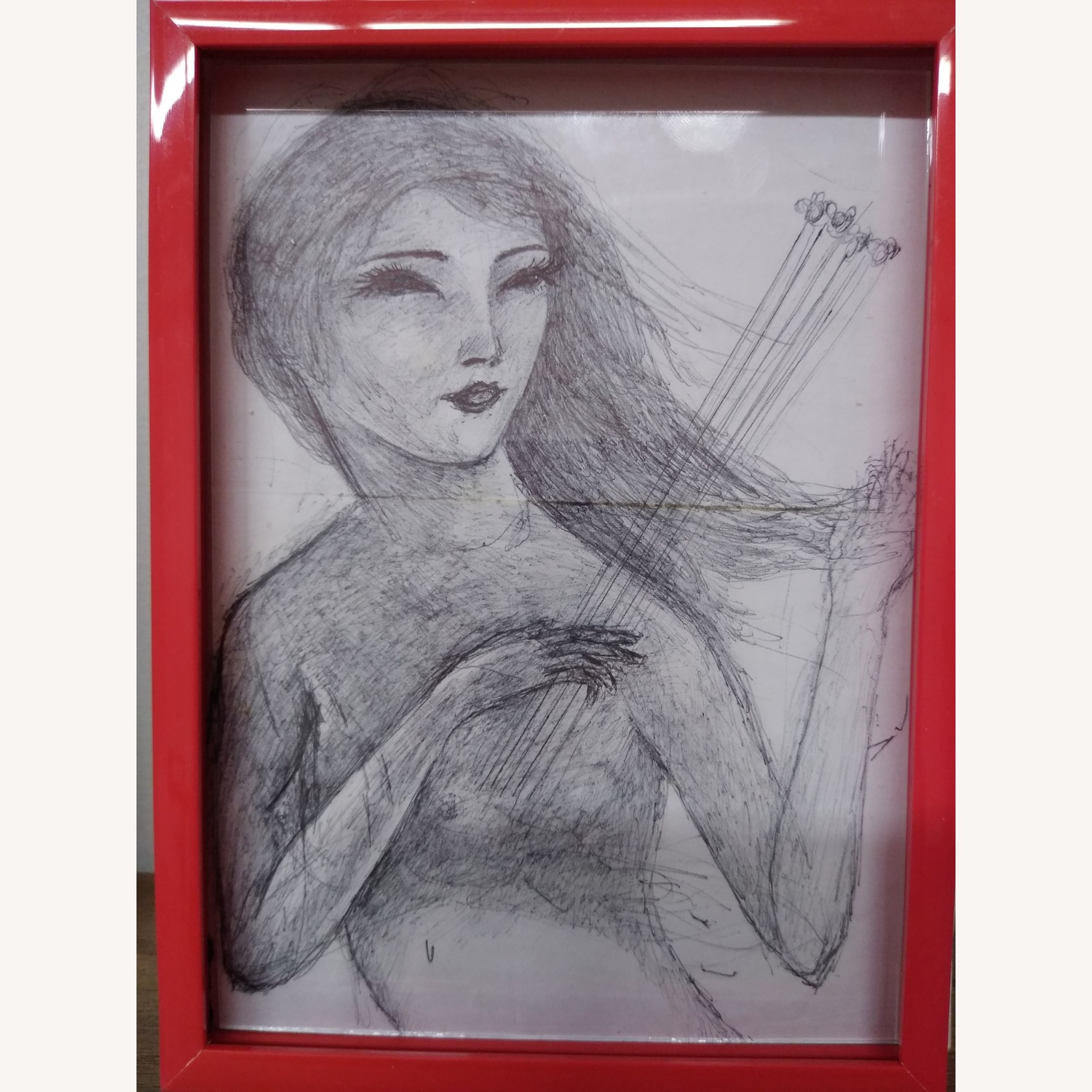 Drawing- Girl playing with bees in hot red frame - image-3