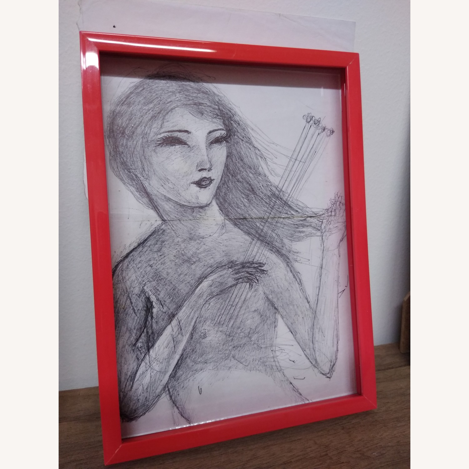 Drawing- Girl playing with bees in hot red frame - image-0