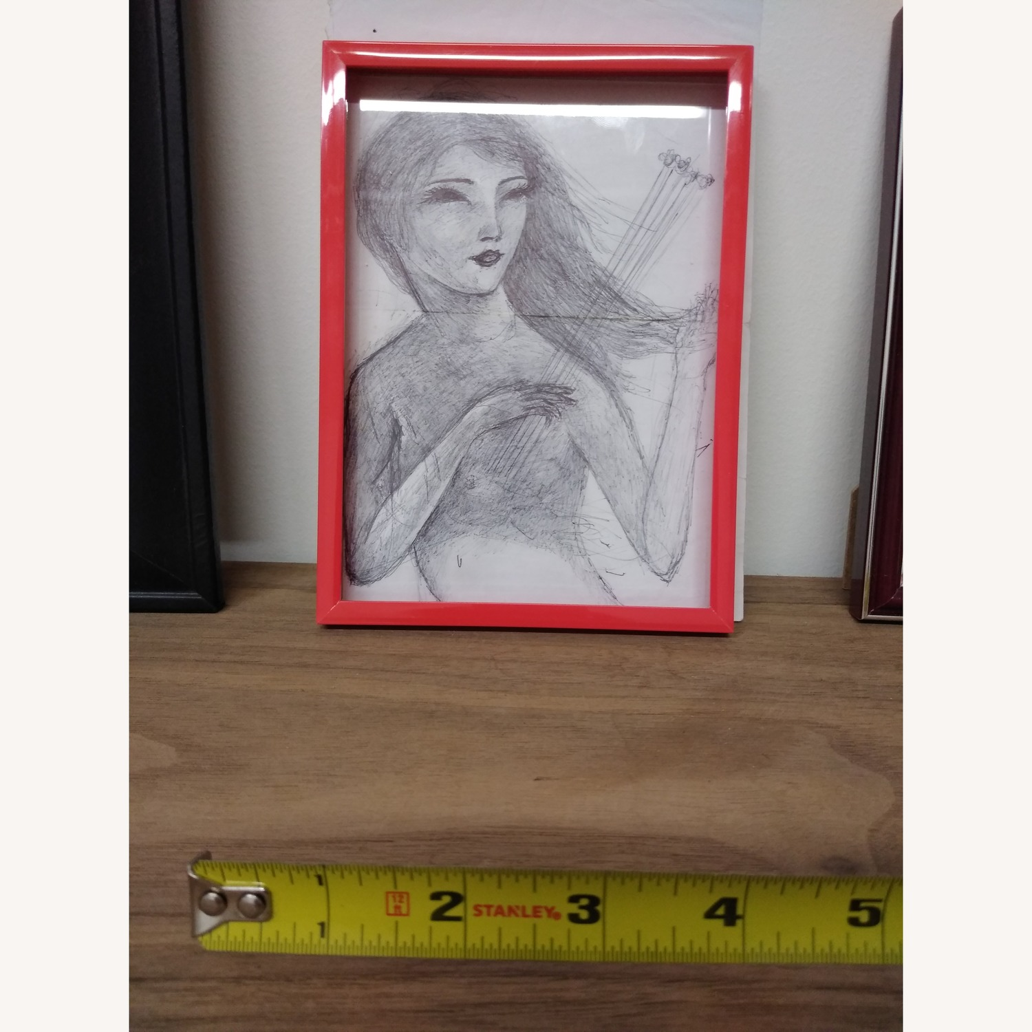 Drawing- Girl playing with bees in hot red frame - image-4
