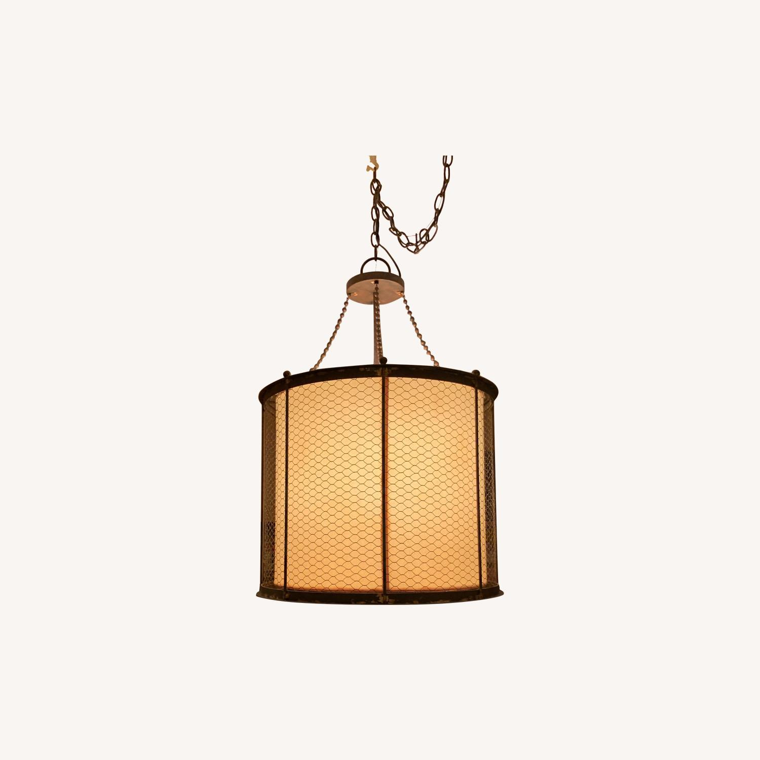 Ethan Allen Metal & Linen Barrel Ceiling Light - image-0