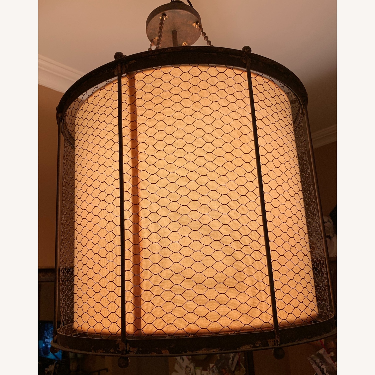 Ethan Allen Metal & Linen Barrel Ceiling Light - image-1