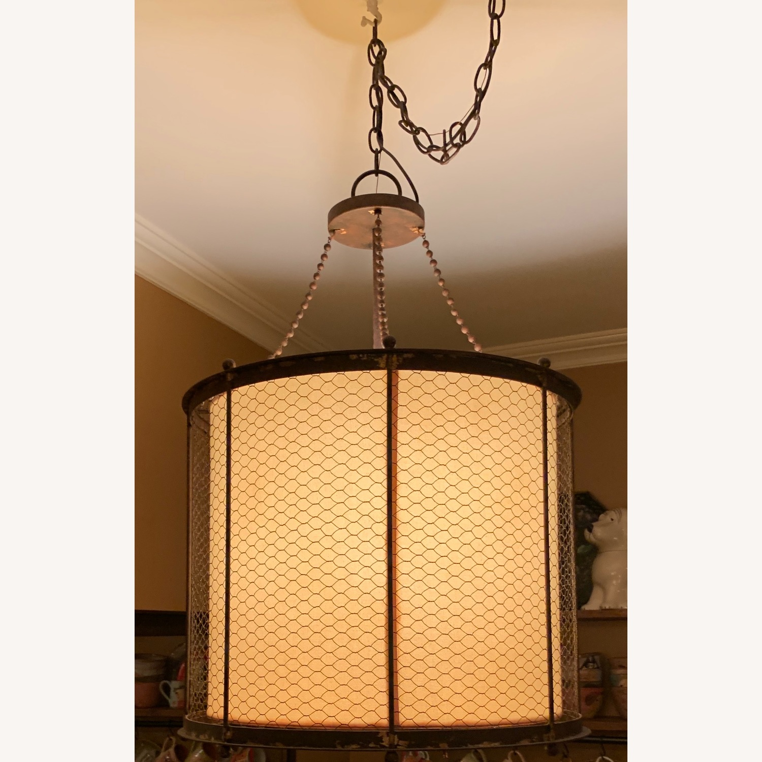 Ethan Allen Metal & Linen Barrel Ceiling Light - image-2