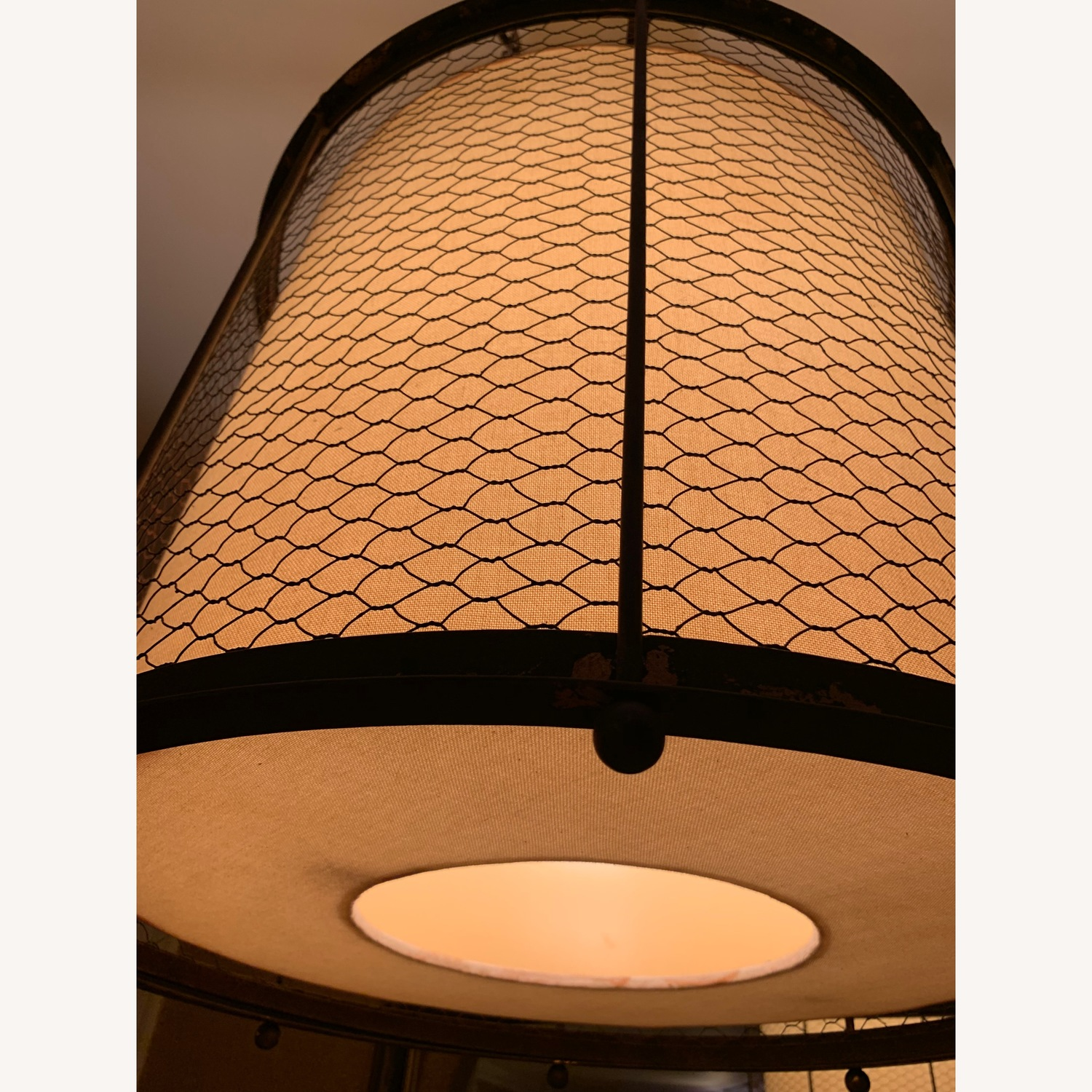 Ethan Allen Metal & Linen Barrel Ceiling Light - image-4