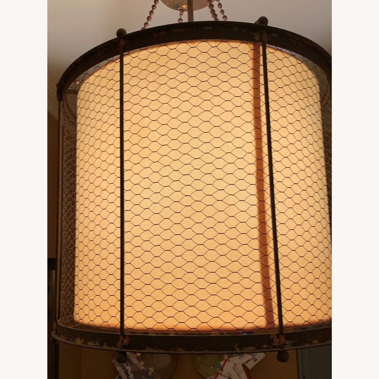 Ethan Allen Metal & Linen Barrel Ceiling Light - image-3