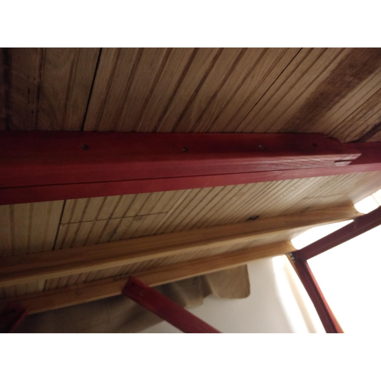Rustic Sleek Oak Top Red Table/Desk