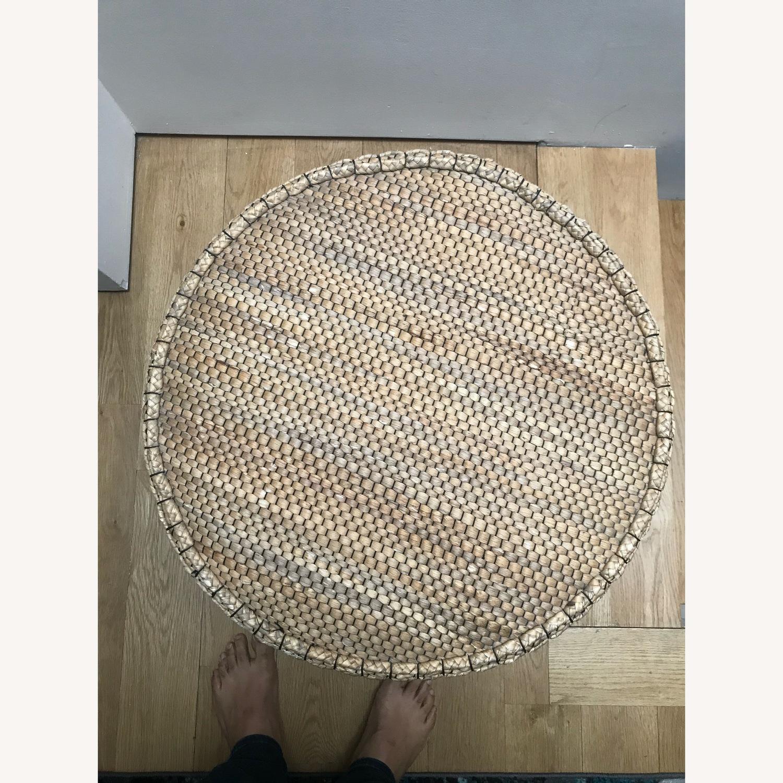 Crate & Barrel Wicker Ottoman - image-2